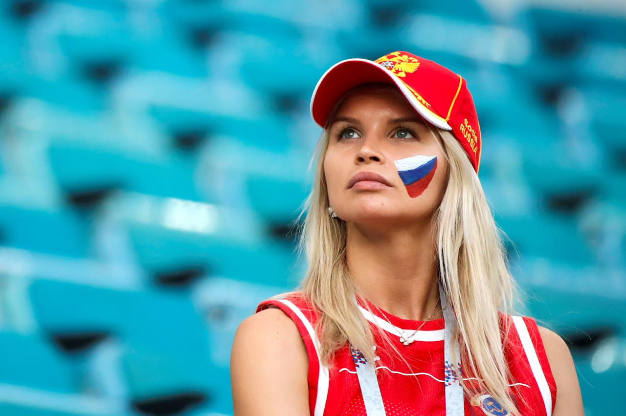 <p>A female soccer fan is seen ahead of the 2018 FIFA World Cup Russia quarter final match between Russia and Croatia at the at the Fisht Stadium in Sochi, Russia on July 07, 2018. (Photo by Sebnem Coskun/Anadolu Agency/Getty Images) </p>