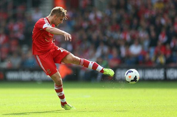 Luke Shaw in action during the Barclays Premier League match between Southampton and Crystal Palace at St Mary's Stadium on September 28, 2013 in Southampton, England. (Getty Images)