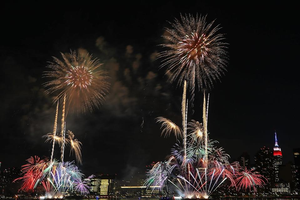 First night of Macy's fireworks display over the Empire State Building for the 4th of July week in Queens, New York City, United States on June 29, 2020.