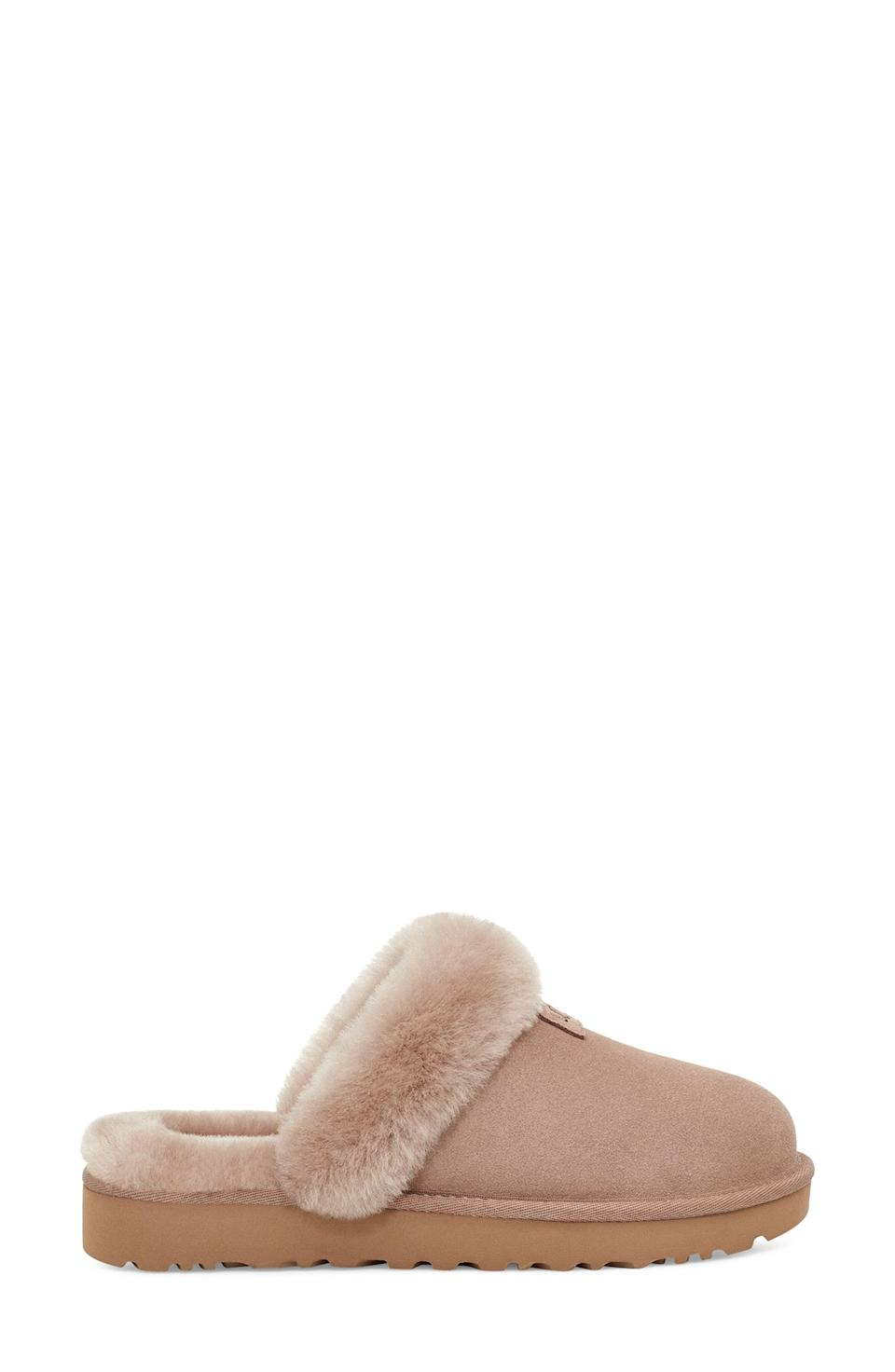 """<p>nordstrom.com</p><p><a href=""""https://go.redirectingat.com?id=74968X1596630&url=https%3A%2F%2Fwww.nordstrom.com%2Fs%2Fugg-genuine-shearling-slipper-women%2F5868136%3Forigin%3Dcategory-personalizedsort%26breadcrumb%3DHome%252FAnniversary%2BSale%252FWomen%252FShoes%26color%3D210&sref=https%3A%2F%2Fwww.harpersbazaar.com%2Ffashion%2Ftrends%2Fg36946278%2Fnordstrom-anniversary-sale-fashion%2F"""" rel=""""nofollow noopener"""" target=""""_blank"""" data-ylk=""""slk:SHOP AT NORDSTROM"""" class=""""link rapid-noclick-resp"""">SHOP AT NORDSTROM</a></p><p><strong>Sale: $70<br></strong></p><p><strong>After Sale: $100</strong></p><p>UGG slippers rarely can be found on sale, let alone for 30 percent off. If a pair is missing from your life or you're after a gift for someone you (really, really) love, now's as wise a time as there'll ever be to take the plunge. </p>"""