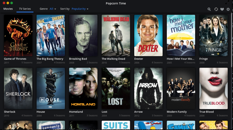 TV Shows Added to Popcorn Time Streaming Service