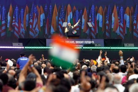 "Indian Prime Minister Narendra Modi speaks during a ""Howdy, Modi"" rally at NRG Stadium in Houston, Texas, U.S"