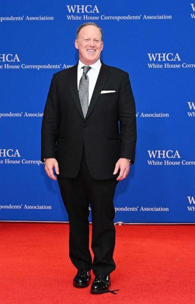 PHOTO: Former White House Press Secretary Sean Spicer arrives on the red carpet for the White House Correspondents' Dinner in Washington, DC on April 27, 2019. (Andrew Caballero-reynolds/AFP/Getty Images)