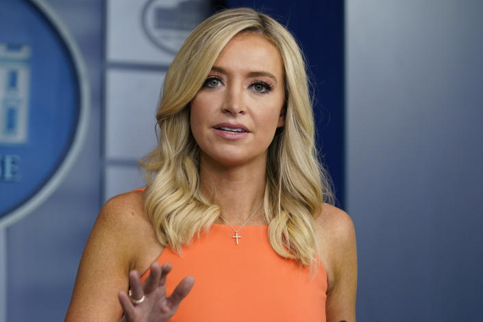 White House press secretary Kayleigh McEnany speaks during a press briefing at the White House, Monday, June 29, 2020, in Washington. (Evan Vucci/AP)