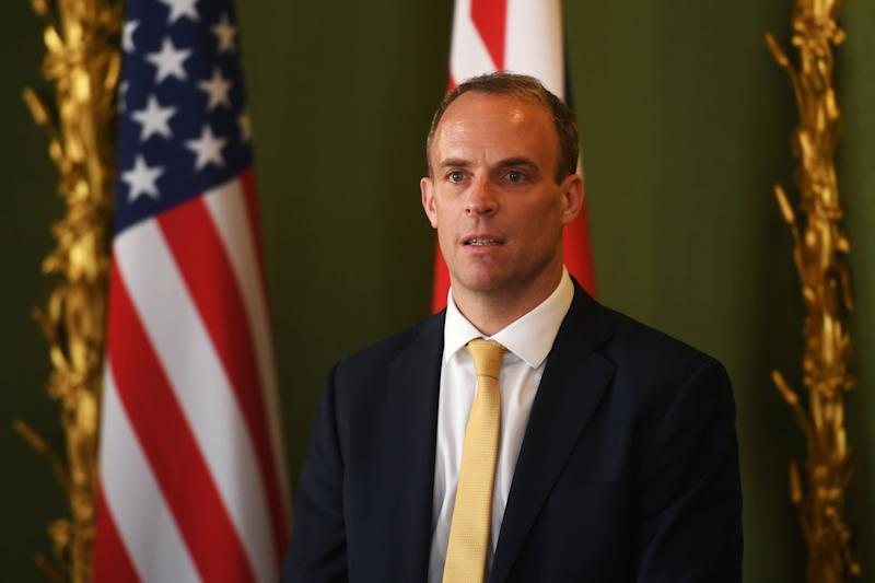 Foreign Secretary Dominic Raab, during a press conference at Lancaster House in central London, following a meeting with United States Secretary of State, Mike Pompeo. (Photo: PA)