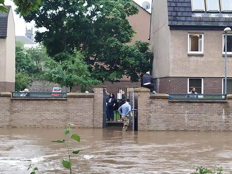 Undated handout photo taken with permission from the twitter page of Conor Dwyer of flash flooding in Edinburgh on Monday