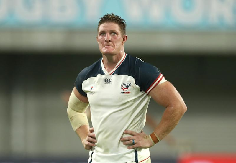 KOBE, JAPAN - SEPTEMBER 26: John Quill of USA reacts after being sent off for a tackle on Owen Farrell of England during the Rugby World Cup 2019 Group C game between England and USA at Kobe Misaki Stadium on September 26, 2019 in Kobe, Hyogo, Japan. (Photo by David Rogers/Getty Images)