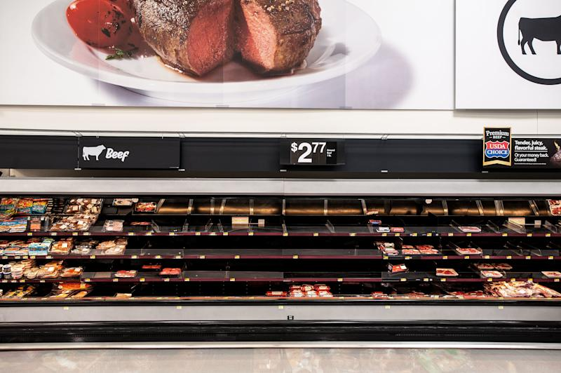 Empty shelves in the Walmart beef aisle in Katy, Texas, on Wednesday. (Joseph Rushmore for HuffPost)