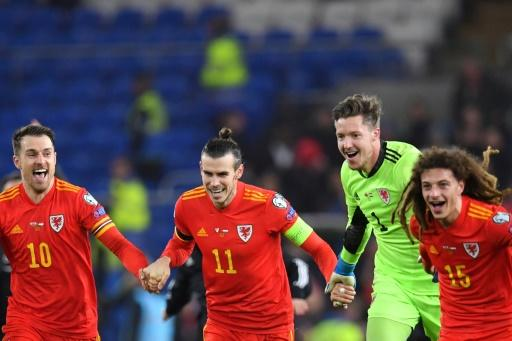 Gareth Bale (2L) celebrates with teammates after Wales secured a place at the 2020 Euros