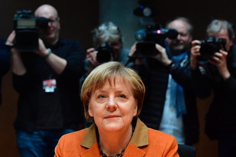 Chancellor Angela Merkel, pictured on February 16, 2017, waits in Berlin for a closed-door hearing by a parliamentary enquiry looking into the surveillance activities of the NSA and the extent of its cooperation with German foreign intelligence services