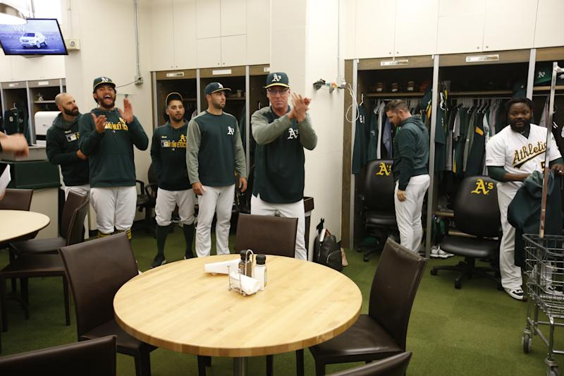 OAKLAND, CA - APRIL 22: Manager Bob Melvin #6 of the Oakland Athletics addresses the team in the clubhouse following the game against the Texas Rangers at the Oakland-Alameda County Coliseum on April 22, 2019 in Oakland, California. The Athletics defeated the Rangers 6-1. (Photo by Michael Zagaris/Oakland Athletics/Getty Images)