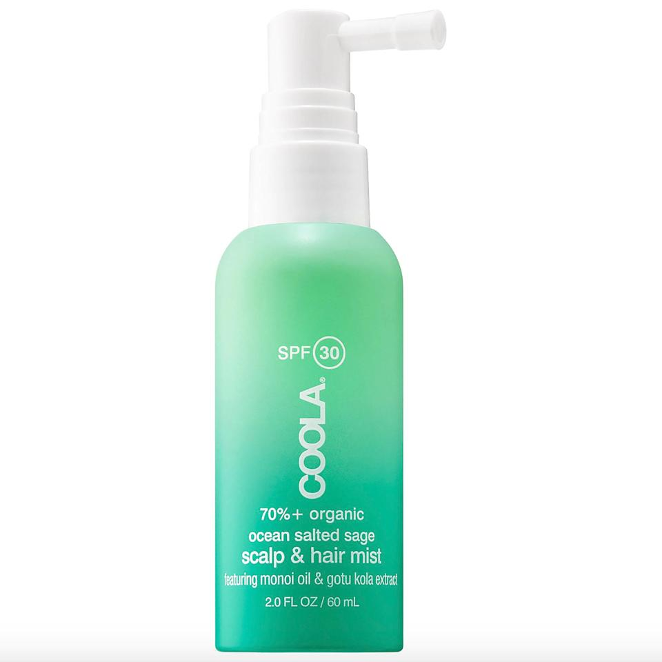 """<p>While the avobenzone and other chemical blockers in the Coola Organic Scalp & Hair Mist work to protect the scalp and hair from UV damage, plant-derived extracts (soybean and palm) condition and give each strand lightweight hydration.</p> <p><strong>$26</strong> (<a href=""""https://shop-links.co/1639250251777173324"""" rel=""""nofollow noopener"""" target=""""_blank"""" data-ylk=""""slk:Shop Now"""" class=""""link rapid-noclick-resp"""">Shop Now</a>)</p>"""