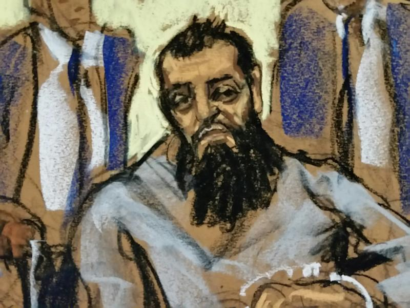 Sayfullo Saipov, the suspect in the New York City truck attack, is seen in this courtroom sketch appearing in Manhattan federal courtroom in a wheelchair in New York, NY, U.S., November 1, 2017. REUTERS/Jane Rosenberg FOR EDITORIAL USE ONLY. NO RESALES. NO ARCHIVES