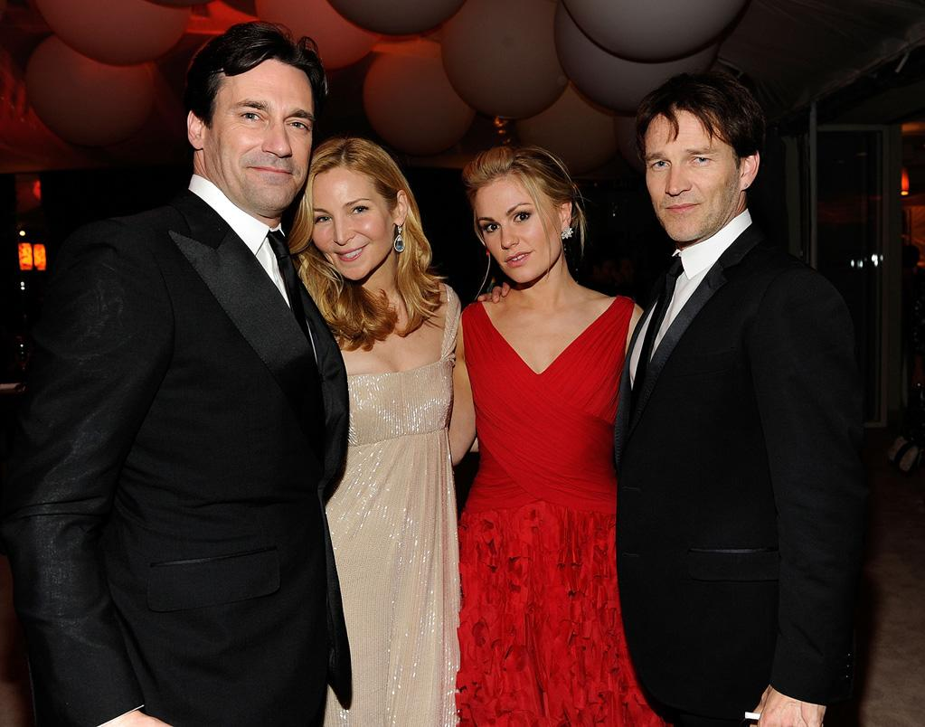 "Jon Hamm and his girlfriend, actress Jennifer Westfeldt (""Kissing Jessica Stein""), mingled with ""True Blood"" duo Stephen Moyer and Anna Paquin."