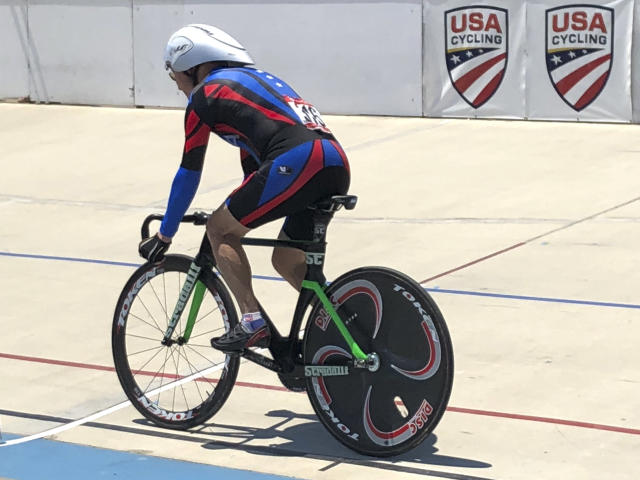 In this photo taken on July 10, 2018 , Carl Grove, a 90-year-old record-setting cyclist, races at the USA Cycling Masters Track Nationals in Breinigsville, PA. The U.S. Anti-Doping Agency informed Grove that traces of trenbolone, an anabolic steroid used by U.S. cattle farmers to bulk up livestock, were detected in a urine sample he gave at the U.S. Masters Track National Championships in Trexlertown, PA., last July, where the fields oldest competitor again added to his collection of titles, setting times faster than men in their eighties, seventies and even sixties. (Kathy Watts via AP)
