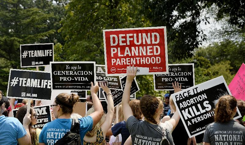 Anti-abortion activists hold a rally opposing federal funding for Planned Parenthood in front of the US Capitol on July 28, 2015 in Washington, DC