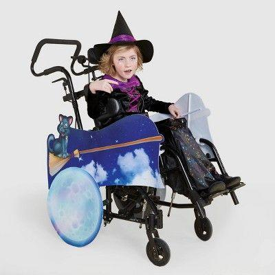 """<p><strong>Hyde & EEK! Boutique</strong></p><p>target.com</p><p><strong>$35.00</strong></p><p><a href=""""https://www.target.com/p/kids-39-adaptive-flying-witch-halloween-costume-wheelchair-cover-with-hat-hyde-38-eek-boutique-8482/-/A-79283789"""" rel=""""nofollow noopener"""" target=""""_blank"""" data-ylk=""""slk:Shop Now"""" class=""""link rapid-noclick-resp"""">Shop Now</a></p><p>Soar through the night sky with a broom and a black cat with this wheelchair cover. It comes with a point hat, but the <a href=""""https://www.target.com/p/kids-adaptive-witch-halloween-costume-dress-with-hat-hyde-eek-boutique/-/A-79804367"""" rel=""""nofollow noopener"""" target=""""_blank"""" data-ylk=""""slk:witch dress"""" class=""""link rapid-noclick-resp"""">witch dress</a> is sold separately if you don't want to DIY your own. </p>"""
