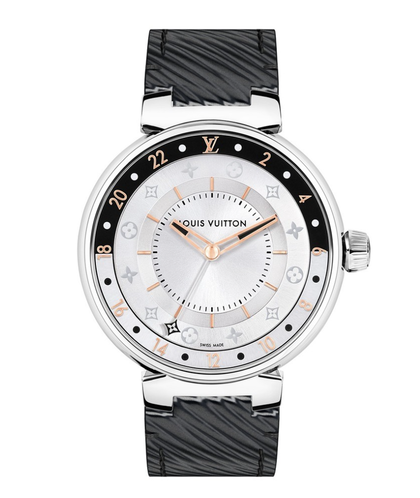 """<p><strong>Louis Vuitton</strong></p><p><a href=""""https://eu.louisvuitton.com/eng-e1/products/tambour-moon-dual-time-black-white-395-nvprod2170092v"""" rel=""""nofollow noopener"""" target=""""_blank"""" data-ylk=""""slk:Shop Now"""" class=""""link rapid-noclick-resp"""">Shop Now</a></p><p>In 2002, Louis Vuitton revealed the Tambour, making its debut in the world of watches. Named for drum in French, the Tambour watch tells time like the percussion sets the tempo of music. The Tambour watch also features inner workings worthy of traditional Swiss mechanics. It's inspired by the long-history of travel ingrained in the Louis Vuitton DNA, and has almost countless iterations now. <br></p>"""
