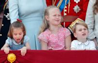 """<p>If the balcony pictures from 2018's <a href=""""https://www.goodhousekeeping.com/life/g21237406/prince-george-princess-charlotte-trooping-the-colour-2018-photos/"""" rel=""""nofollow noopener"""" target=""""_blank"""" data-ylk=""""slk:Trooping the Colour"""" class=""""link rapid-noclick-resp"""">Trooping the Colour</a> parade taught us anything, it's that these three are the absolute cutest, most precious kids <em>eve</em>r. All throughout the ceremony, the trio (<a href=""""https://www.goodhousekeeping.com/life/a21246076/savannah-phillips/"""" rel=""""nofollow noopener"""" target=""""_blank"""" data-ylk=""""slk:Savannah"""" class=""""link rapid-noclick-resp"""">Savannah</a> is the great-granddaughter of the Queen) were doing what cousins do best: getting into all sorts of silly mischief when the 'rents weren't looking. </p>"""