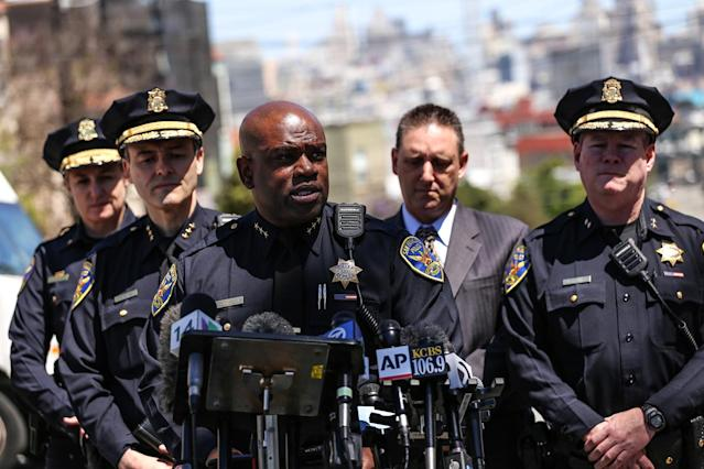 <p>SFPD Assistant Chief Toney Chaplin briefs members of the press regarding a shooting at a UPS packing facility in San Francisco, on June 14, 2017. (Joel Angel Juarez/Anadolu Agency/Getty Images) </p>