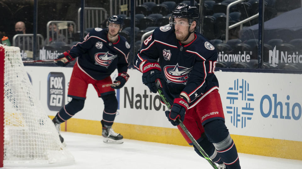 COLUMBUS, OH - JANUARY 21: Pierre-Luc Dubois #18 of the Columbus Blue Jackets skates with the puck during the game between the Columbus Blue Jackets and the Tampa Bay Lightning at Nationwide Arena in Columbus, Ohio on January 21, 2021. (Photo by Jason Mowry/Icon Sportswire via Getty Images)