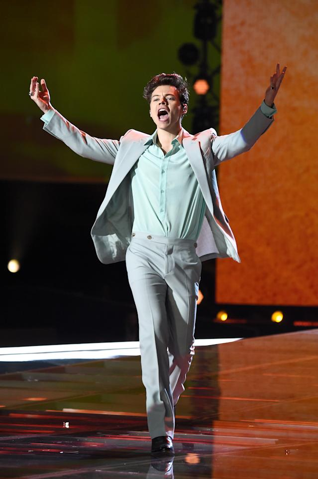 <p>The former One Direction star pulled out all the stops with three different outfits for his first performance at the iconic lingerie show. <em>[Photo: Getty]</em> </p>