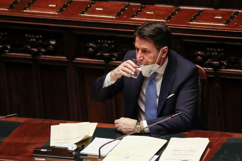 FILE PHOTO: Italy's Prime Minister Giuseppe Conte delivers a speech at the lower chamber of Parliament, in Rome