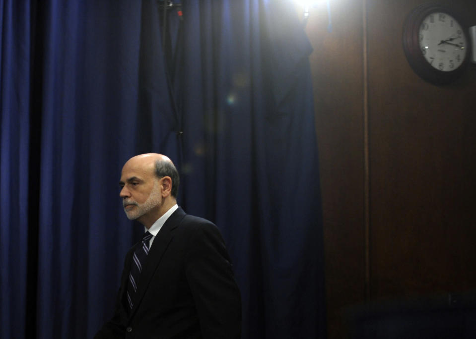 <p> FILE - In this Wednesday, April 25, 2012, file photo, Federal Reserve Chairman Ben Bernanke arrives for a news conference at the Federal Reserve in Washington. The tumultuous Ben Bernanke era at the Federal Reserve moves toward its close with the final policy meeting of his eight-year tenure scheduled for the last week of January 2014. (AP Photo/Susan Walsh, File) </p>