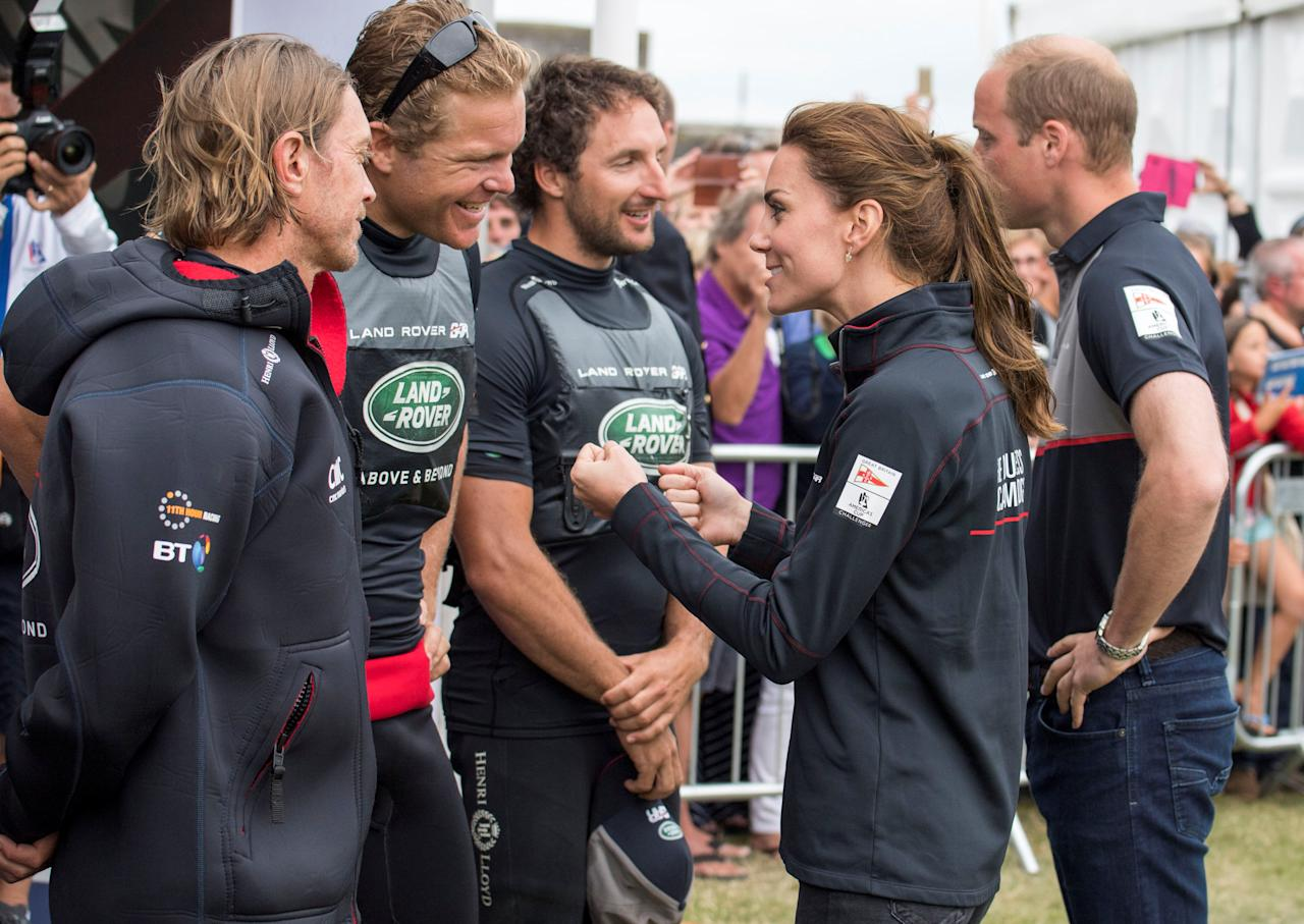 Britain's Kate, Duchess of Cambridge, and Prince William meet the competing teams in the Race Village after the  America's Cup World Series Race events in Portsmouth, Britain, July 24, 2016. REUTERS/Arthur Edwards/Pool