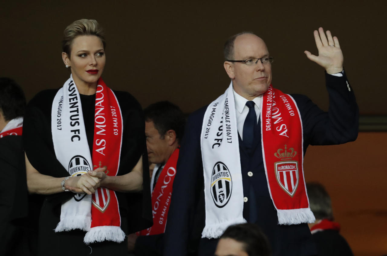 Football Soccer - AS Monaco v Juventus - UEFA Champions League Semi Final First Leg  - Stade Louis II, Monaco - 3/5/17 Prince Albert II of Monaco and Princess Charlene of Monaco in the stands Reuters / Eric Gaillard Livepic