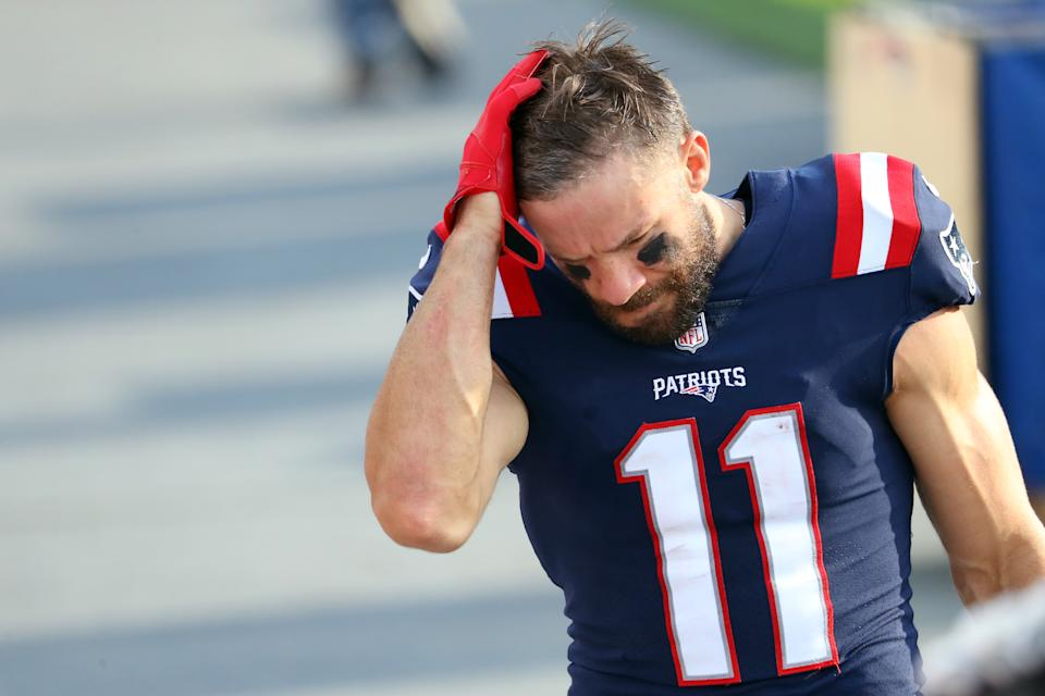 Julian Edelman of the New England Patriots reacts following the team's 18-12 defeat against the Denver Broncos. (Photo by Maddie Meyer/Getty Images)