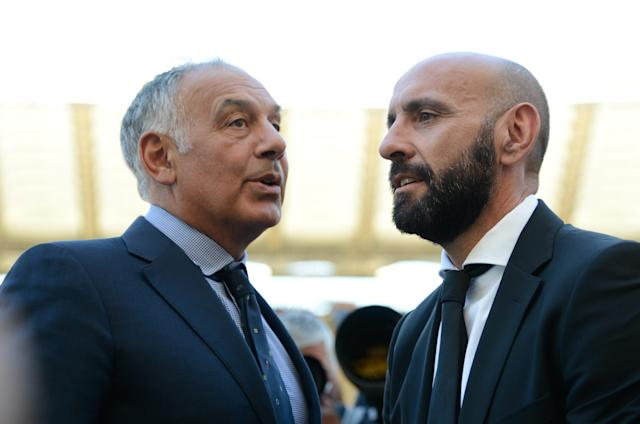 James Pallotta (left) and Monchi (right) run the show at Roma. (Getty)