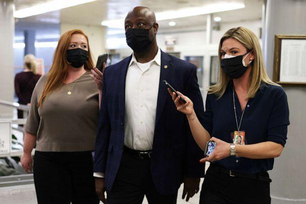 PHOTO: Sen. Tim Scott speaks to reporters at the U.S. Capitol, April 12, 2021, in Washington. (Alex Wong/Getty Images, FILE)