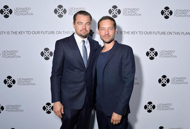 "<p>The <em>Great Gatsby</em> co-stars are known for having one of the <a href=""https://www.yahoo.com/movies/blogs/movie-talk/leonardo-dicaprio-tobey-maguire-bromance-25-years-162611521.html"" data-ylk=""slk:longest-running bromances"" class=""link rapid-noclick-resp"">longest-running bromances</a> in Hollywood. (Photo by Victor Boyko/Getty Images for LDC Foundation) </p>"