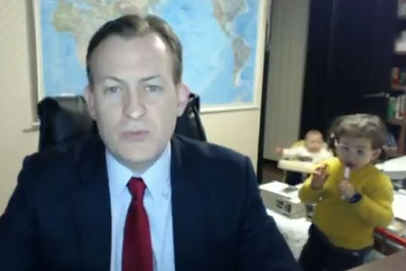 Robert Kelly and his family became an internet sensation after his children interrupted his live interview (BBC)
