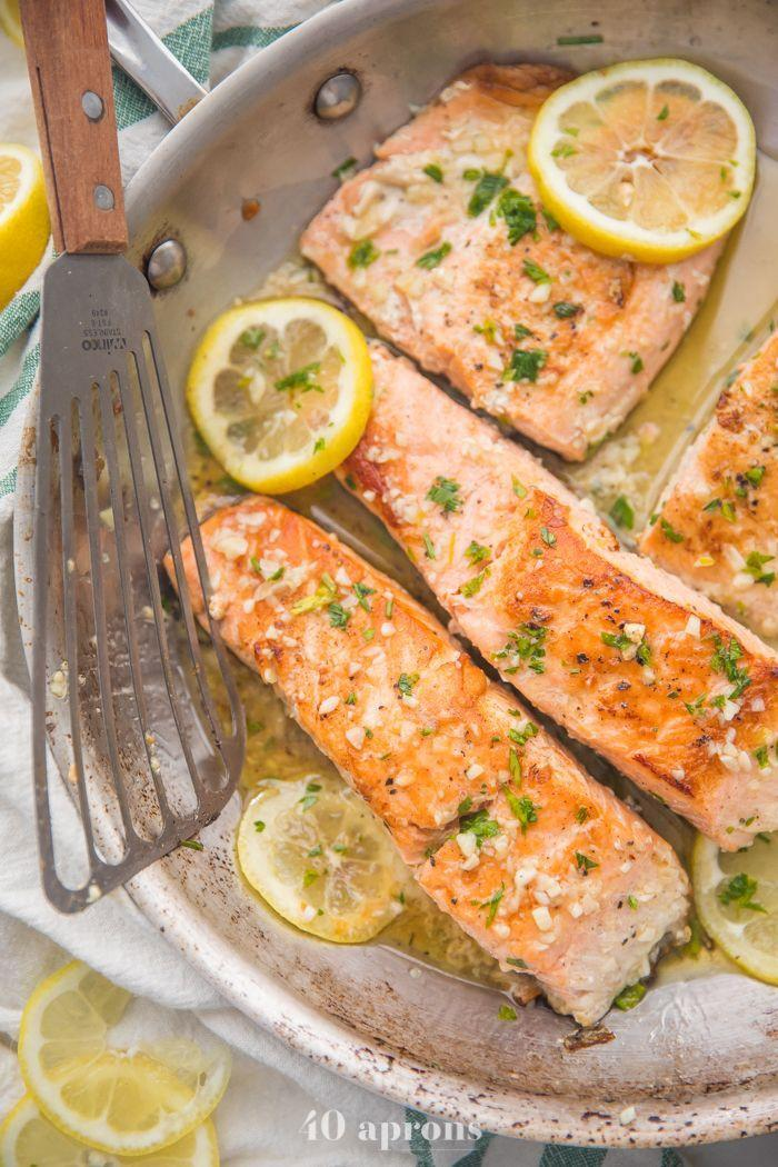 "<p>Not everyone eats meat, so a turkey won't cut it for vegans and pesctetarians. Fortunately, this lemon garlic salmon from <a href=""https://40aprons.com/lemon-garlic-salmon-whole30/"" rel=""nofollow noopener"" target=""_blank"" data-ylk=""slk:40 Aprons"" class=""link rapid-noclick-resp"">40 Aprons</a> is an excellent option for those looking to have more fish in the diet. It's ready in 25 minutes, too, which is super fast!</p>"