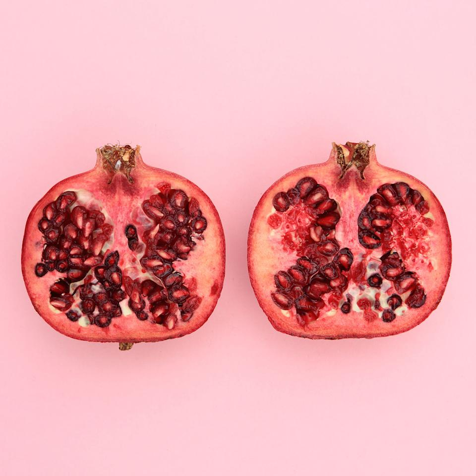 """<p>""""The seeds are jewels of health and loaded with antioxidants. Pomegranate juice actually has higher antioxidant levels than red wine!"""" says celebrity nutritionist <a rel=""""nofollow"""" href=""""http://lisadefazio.com/"""">Lisa DeFazio</a>, R.D.N.  """"They're also a good source of vitamin C and folate."""" Try using the juice as a base for marinades and sprinkling the seeds into yogurt, cereal, or salads.</p><p><span></span></p>"""