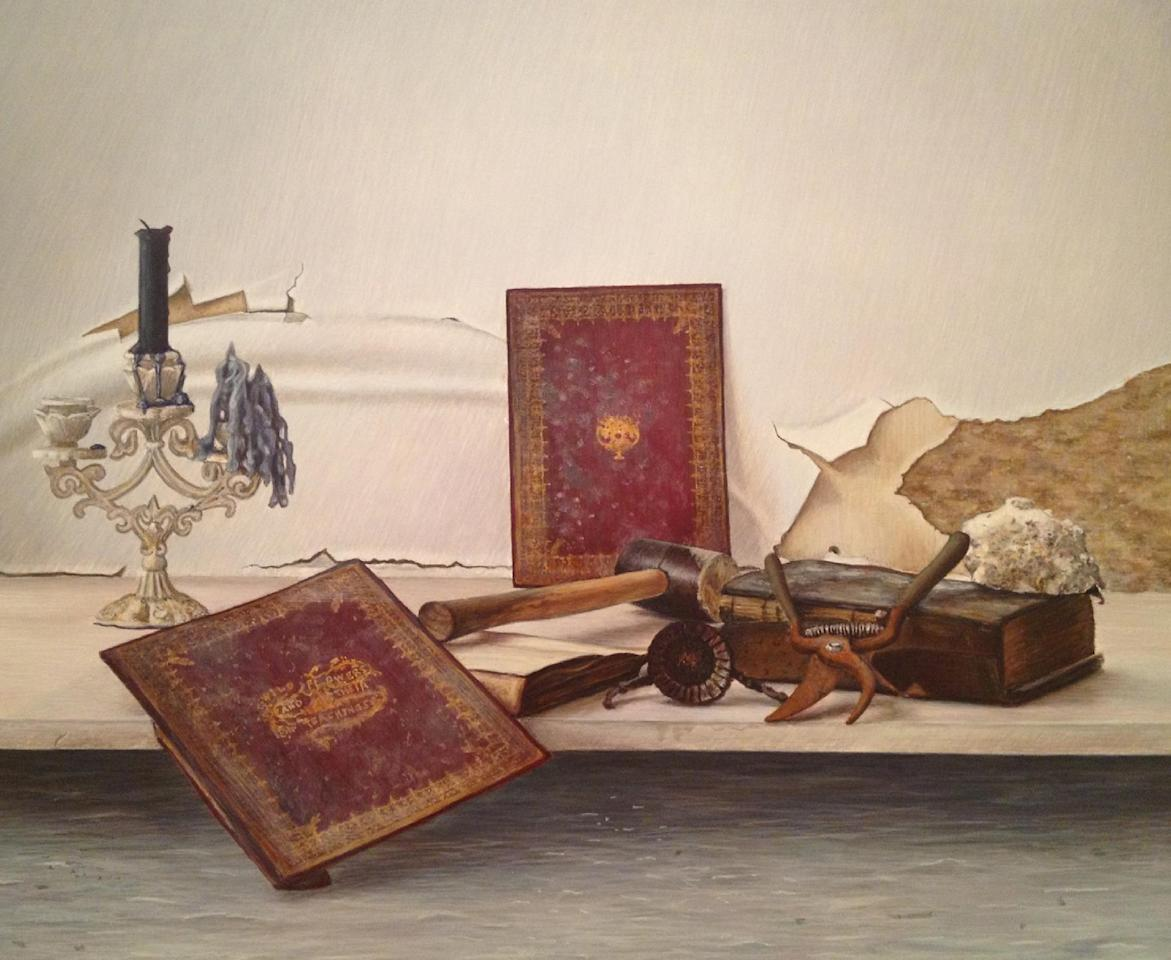 "This undated image provided by John Gordon Gauld shows the Brooklyn artists'  ""Wildflowers and Their Teachings, "" a still life painting depicting the remnants of his flooded studio: Rusted tools and damaged books against a crumbling, peeling and moldy wall. Many New York City artists are still dealing with the shock of what Superstorm Sandy left in its path: Unusable studios and homes, destroyed tools and materials, unsalvageable artworks. But others, including Gauld, are discovering a new energy and renewed creativity in its wake. Nearly two dozen artists are showcasing their storm-related works at a New York City gallery.  ""After Effects"" in Chelsea opens Friday Feb. 8 and runs through Feb. 24. (AP Photo/John Gordon Gauld)"