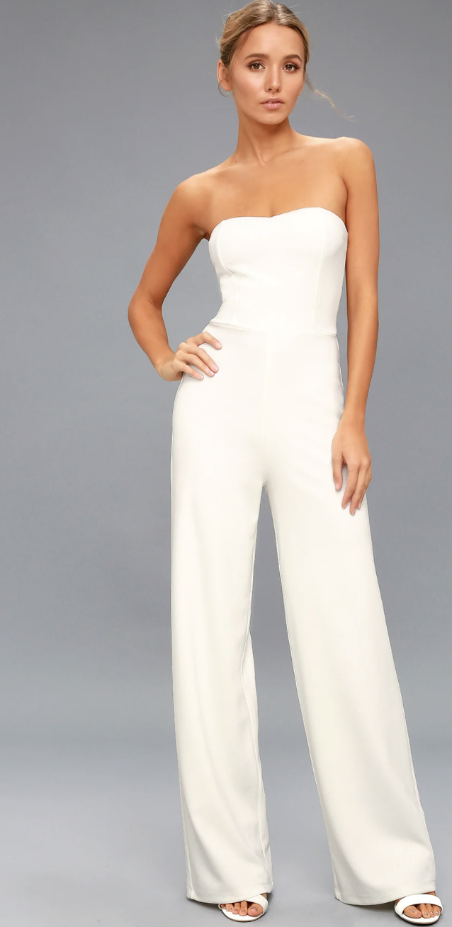 Edith White Strapless Jumpsuit, $64, from Lulus