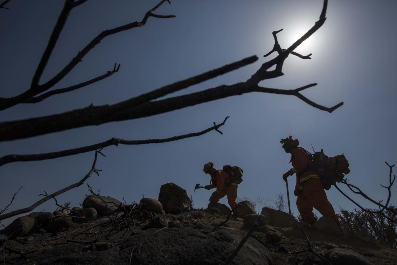 Hand crews work on the fire line after a wildfire near Point Mugu, Calif., Saturday, May 4, 2013. On Saturday, high winds and withering hot, dry air were replaced by the normal flow of damp air off the Pacific, significantly reducing fire activity. (AP Photo/Ringo H.W. Chiu)