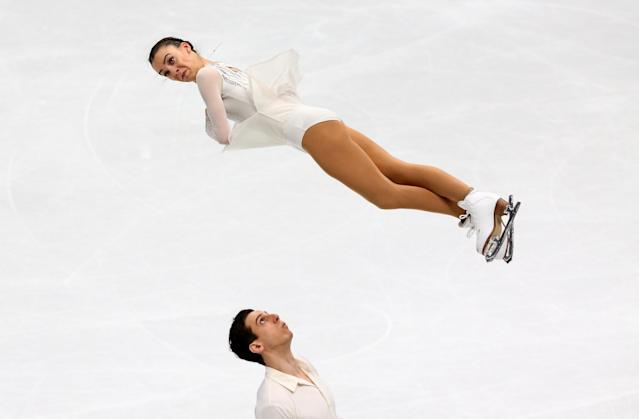 Figure Skating - World Figure Skating Championships - The Mediolanum Forum, Milan, Italy - March 21, 2018 Spain's Laura Barquero and Aritz Maestu during the Pairs Short Programme REUTERS/Alessandro Bianchi