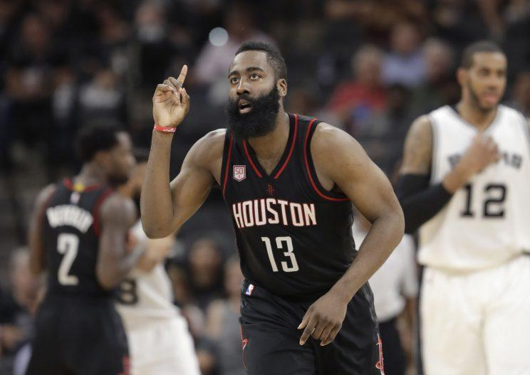James Harden is eligible to sign a Designated Player Veteran Extension this summer. (AP)