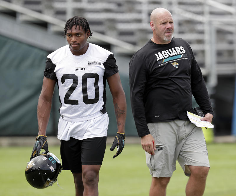 Jalen Ramsey (L) got a week off from the Jaguars after going after reporters on social media. (AP)