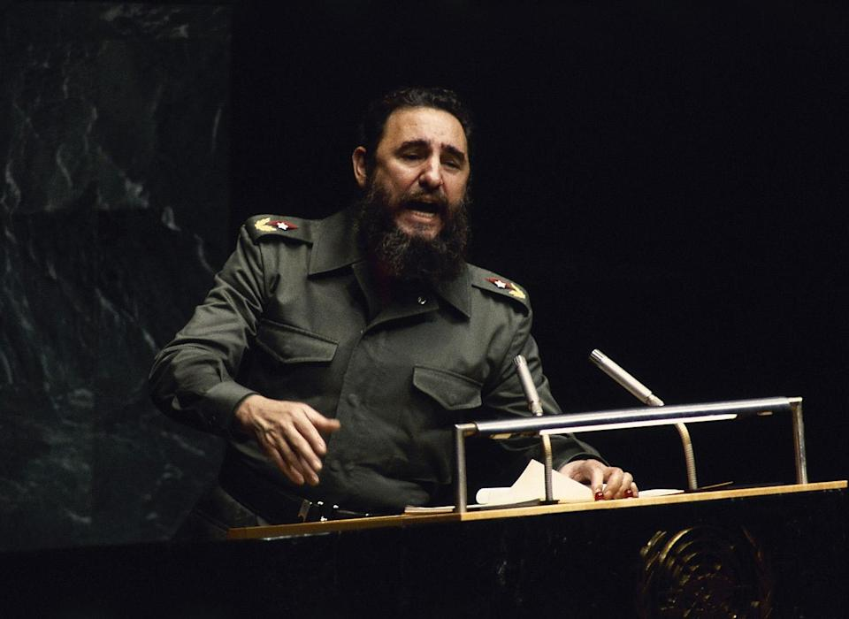 <p>Cuban President Fidel Castro, addresses the U.N. General Assembly in New York, Oct. 12, 1979. (AP Photo) </p>
