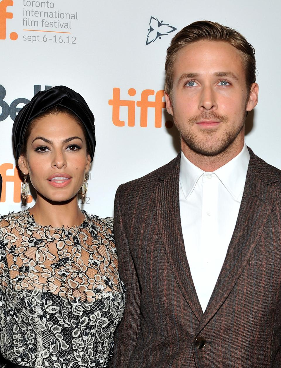 """Eva Mendes and Ryan Gosling attend """"The Place Beyond The Pines"""" premiere during the 2012 Toronto International Film Festival at Princess of Wales Theatre on September 7, 2012 in Toronto, Canada. (Photo: Sonia Recchia via Getty Images)"""