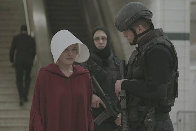 Offred tries and fails to make an escape in <em>The Handmaid's Tale.</em> (Photo: George Kraychyk/Hulu)