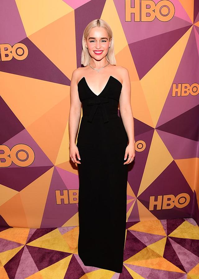 <p>Emilia Clarke on the red carpet at HBO's Golden Globe Awards bash at Circa 55 Restaurant. (Photo: Emma McIntyre/Getty Images) </p>