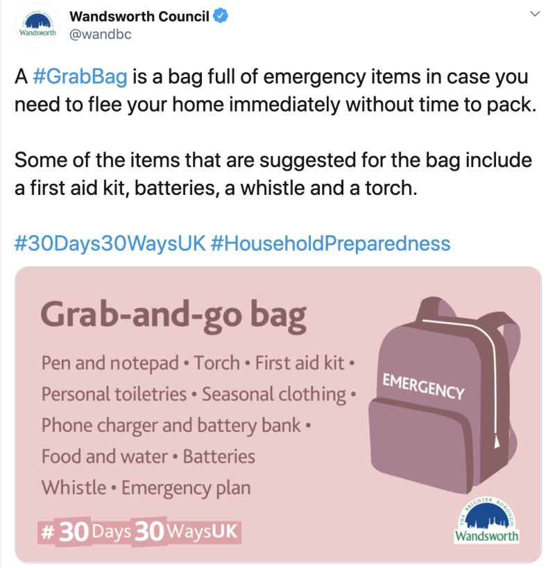 Pictured is the tweet from Wandsworth Council advising people what to put in a grab-and-go bag.