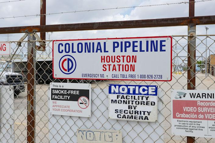 Image showing the Colonial Pipeline Houston Station facility in Pasadena, Texas (East of Houston) taken on May 10, 2021. - US President Joe Biden said that a Russia-based group was behind the ransomware attack that forced the shutdown of the largest oil pipeline in the eastern United States. The FBI identified the group behind the hack of Colonial Pipeline as DarkSide, a shadowy operation that surfaced last year and attempts to lock up corporate computer systems and force companies to pay to unfreeze them. (Photo by Francois PICARD / AFP) (Photo by FRANCOIS PICARD/AFP via Getty Images)