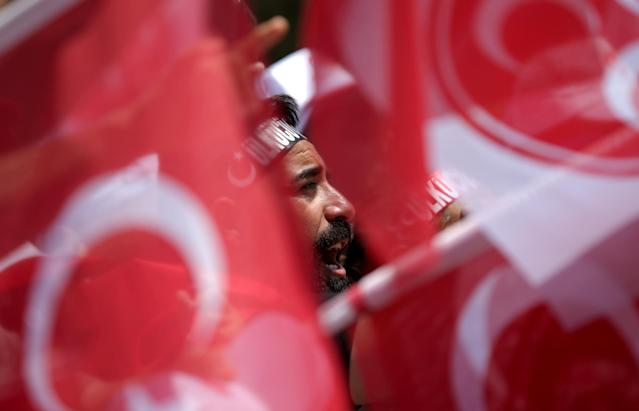 A supporter of Devlet Bahceli, leader of Nationalist Movement Party (MHP), attends an election rally in Ankara, Turkey June 23, 2018. REUTERS/Stoyan Nenov TPX IMAGES OF THE DAY